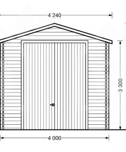 Augsts garāža kempings 4m x 8m, 44mm, 32m² zīmējums no priekšpuses