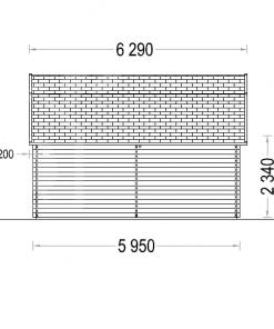 Koka garāža Mississippi 30 m² (5 m x 6 m), 44 mm