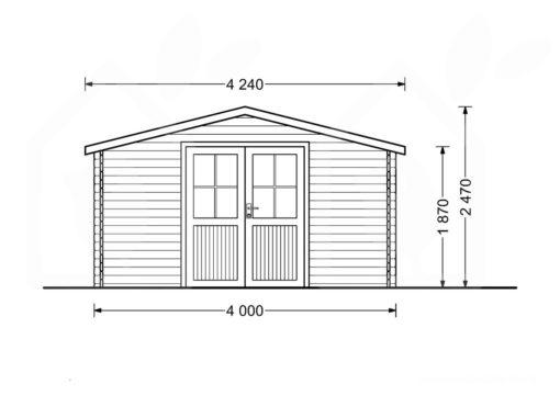 Mazā māja Rennes 10m² (4m x 3m, 34mm) zīmējums no priekšpuses