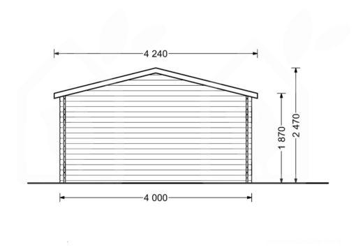 Mazā māja Rennes 10m² (4m x 3m, 34mm) zīmējums no aizmugures