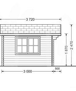 Mazā māja Rennes 10m² (4m x 3m, 34mm) brėžinys iš kito šono