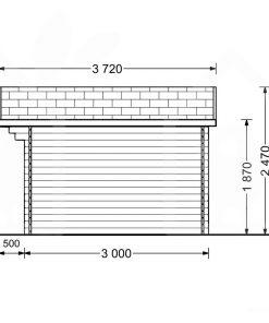 Mazā māja Rennes 10m² (4m x 3m, 34mm) brėžinys iš šono
