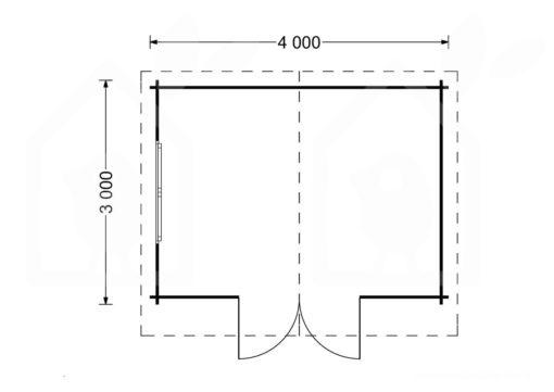Mazā māja Rennes 10m² (4m x 3m, 34mm) vidaus brėžinys