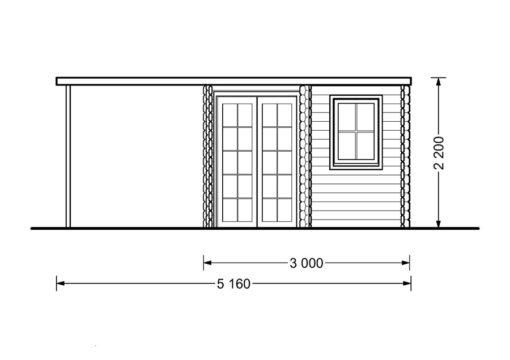 Koka māja Aisne plus 8 m² + terase - zīmējums no priekšpuses