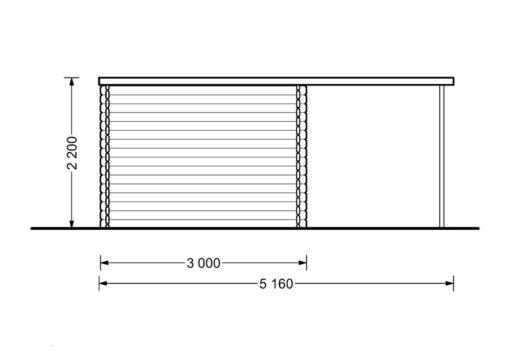 Koka māja Aisne plus 8 m² + terase - zīmējums no aizmugures