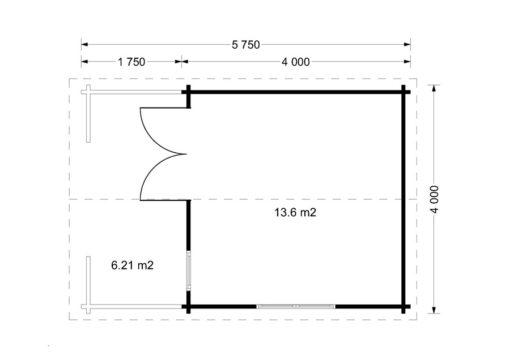 Dārza māja Shanon 16 m2 + 7 m2