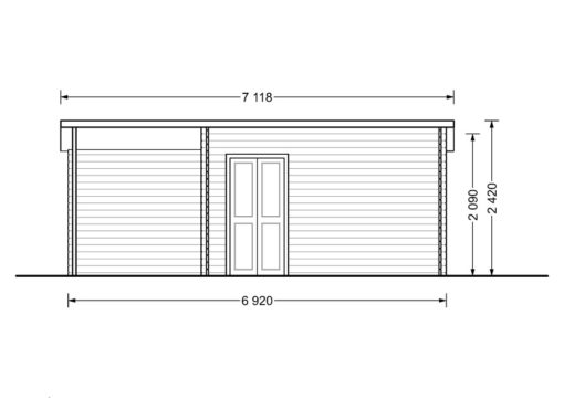 Dārza māja Carl 18m² + 8m² Terase - zīmējums no priekšpuses