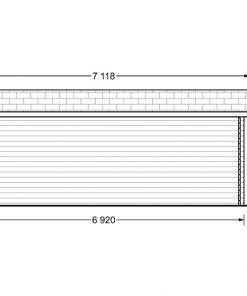 Dārza māja Carl 18m² + 8m² Terase - zīmējums no aizmugures