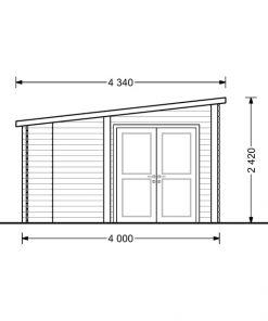 Dārza māja Carl 18m² + 8m² Terase - brėžinys iš kito šono