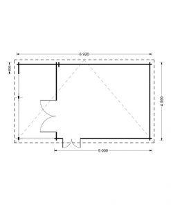 Dārza māja Carl 18m² + 8m² Terase - vidaus brėžinys