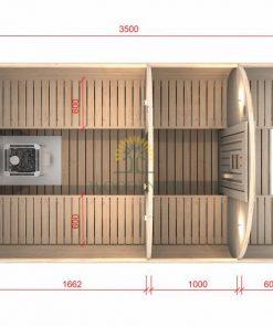 Pirts muca 3.5 m Ø 2.27 m (ar 1 m ģērbtuvi)