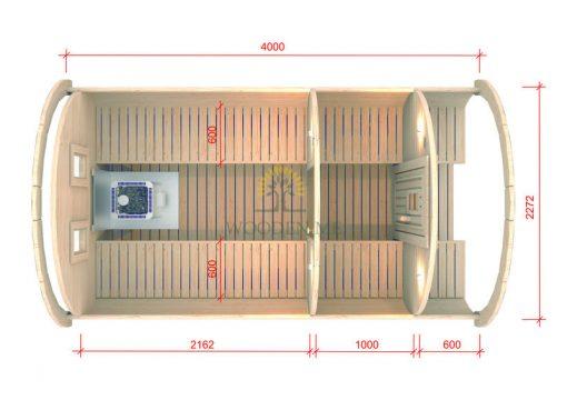 Pirts muca 4.0 m Ø 2.27 m (ar 1 m ģērbtuvi)