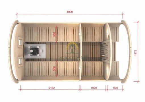 Pirts muca 4.0 m Ø 1.97 m (ar 1 m ģērbtuvi)