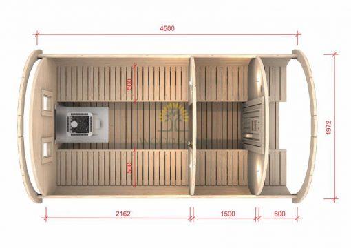 Pirts muca 4.5 m Ø 1.97 m (ar 1.5 m ģērbtuvi)