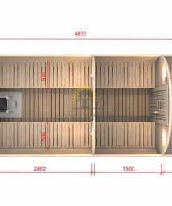 Pirts muca 4.8 m Ø 1.97 m (ar 1.5 m ģērbtuvi)