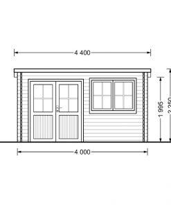 Dārza māja Lille plakans jumts 10 m², 34 mm