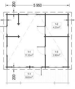 Vasarnīcas Alto plakanais jumts 28m² + 8.65m² terasa -vidaus brėžinys
