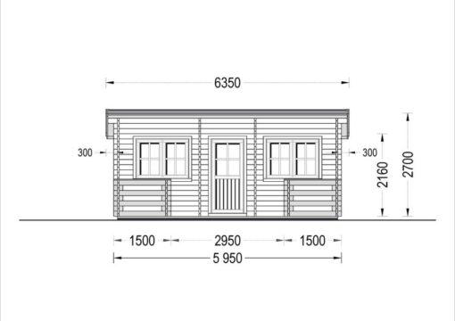 Vasarnīcas Alto plakanais jumts 28m² + 8.65m² terasa - zīmējums no priekšpuses