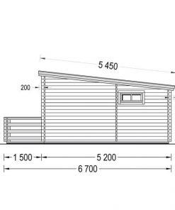 Vasarnīcas Alto plakanais jumts 28m² + 8.65m² terasa - brėžinys iš kito šono