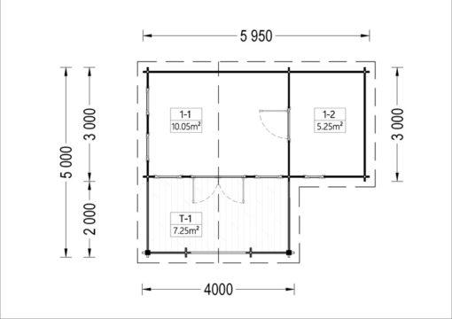 Dārza māja ISLA 15m² + 7,25m² terase - vidaus brėžinys