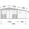 Dārza māja ISLA 15m² + 7,25m² terase - zīmējums no priekšpuses