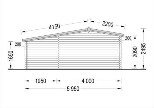 Dārza māja ISLA 15m² + 7,25m² terase - zīmējums no aizmugures