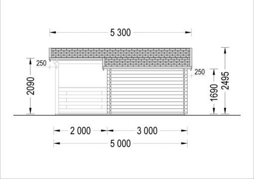 Dārza māja ISLA 15m² + 7,25m² terase - brėžinys iš kito šono