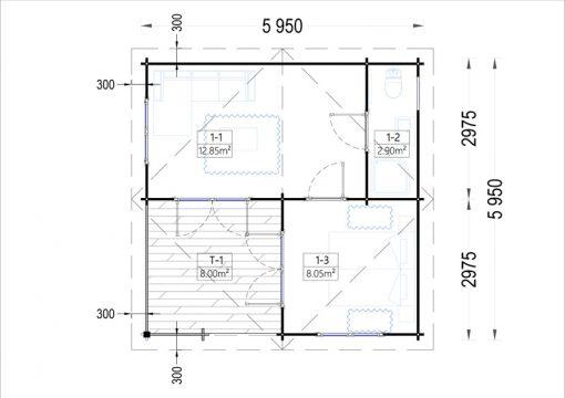 Dārza māja OLIVIA 32m² - vidaus brėžinys