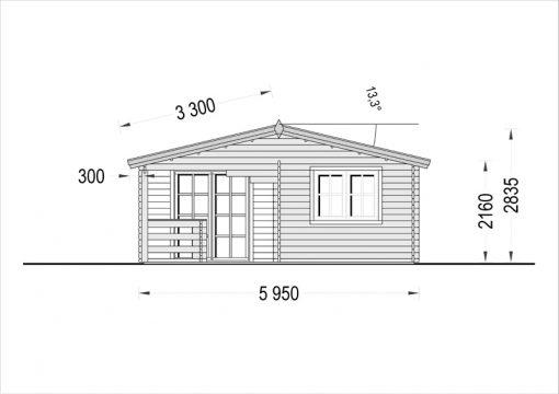 Dārza māja OLIVIA 32m² - zīmējums no priekšpuses