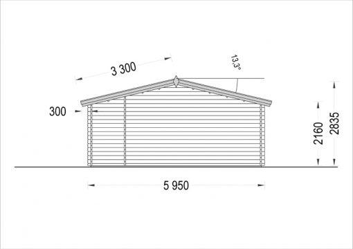 Dārza māja OLIVIA 32m² - zīmējums no aizmugures