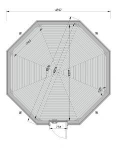 Kempinga kabīne 14.9m² - PLĀNS