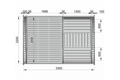 Kempinga muca 3.3 m (Ģimenes mini) - PLĀNS