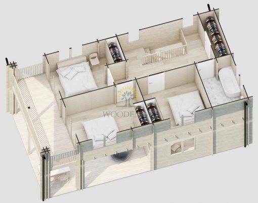 Vasarnīca Athena (5.86 m x 11.26 m), 65 m², divi stāvi, ar terasi un balkonu; dzīvojamā platība 86.1 m², 68 mm