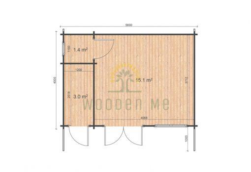 Dārza mājiņa ROBERTO 5,6m x 4m, 44 mm_Plāns