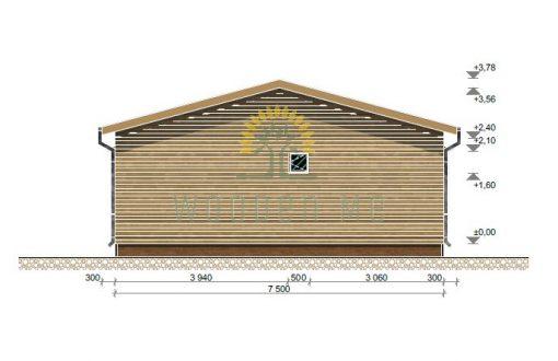 Vasarnīca Petunia A 690 cm x 790 cm (54,5 m²), 44 mm