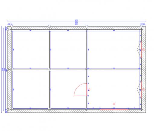 Tivoli - Divvietīga nojume ar škūni (5,95 m x 7.5m), 44mm - Plan